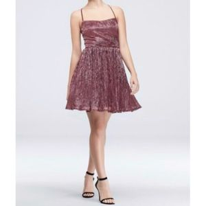 City Triangles Purple Metallic Crinkle Dress